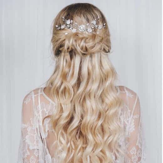 Half Wavy updo hairstyle for wedding
